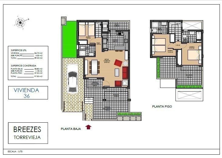 Attraktivt prosjekt i Aguas Nuevas. Bungalower og Firemannsboliger/ Quads med 2 eller 3 soverom. Flott beliggenhet.