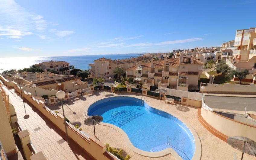 Sydvendt leilighet med havutsikt i Aguamarina, Cabo Roig